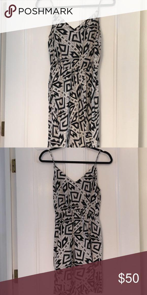 Amanda Uprichard black and white silk mini dress Amanda Uprichard black and white silk mini dress; barely worn Amanda Uprichard Dresses Mini