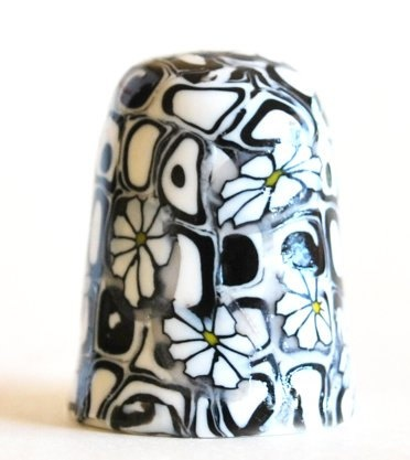 Black White Daisy #Thimble #Handmade Polymer Clay by #polymerclaybeads