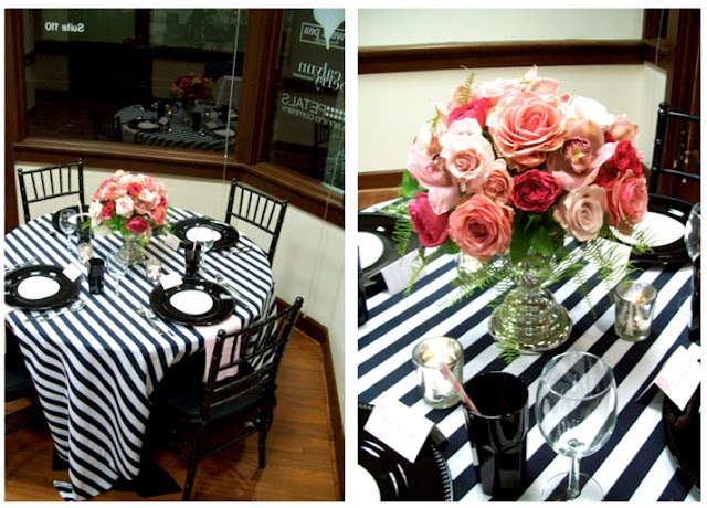 Black And White Striped Tablecloth Center Piece Ideas