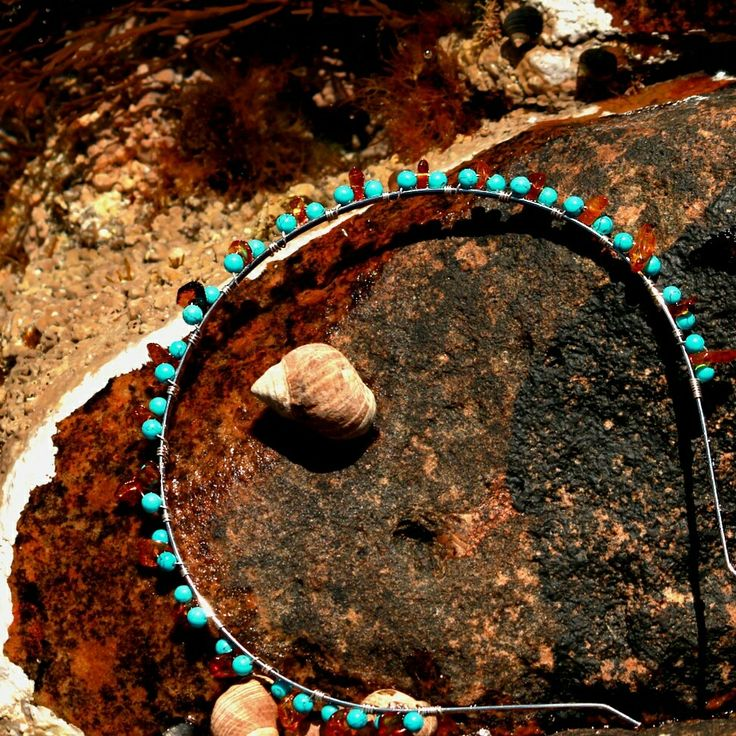 This headband is made with silver wire, turquoise beads and amber chips. Taken at Portskerra. Photo by Pamela Taylor Photography. Rosering Creations x