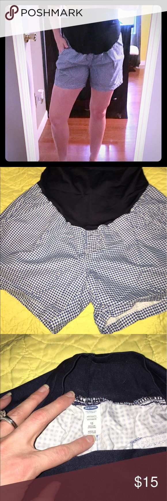 Old Navy Maternity Shorts Old Navy blue and white gingham maternity shorts! These are perfect when you still want to look cute but be comfortable and cool while you are pregnant. Only worn twice while I was pregnant and always got compliments. They are perfect for the upcoming summer season! Size 12. Old Navy Shorts