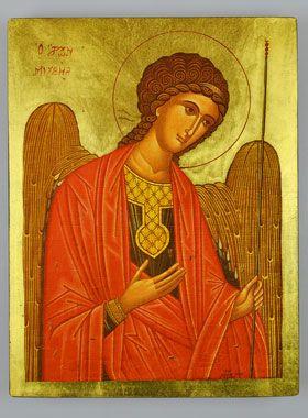 Icône Byzantine Saint Michel Archange Rouge - 25 cm