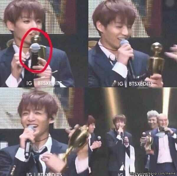 Remember the time when Jungkook mistook the trophy as mic xDD | allkpop Meme Center