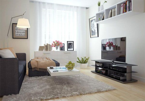soft colored small living room design