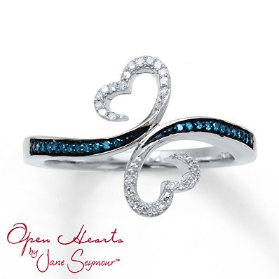 LOVE THIS....Open Hearts Waves Ring 1/10 ct tw Diamonds Sterling Silver