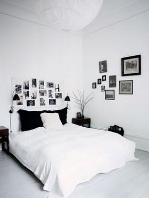 Rustige slaapkamer in zwart en wit