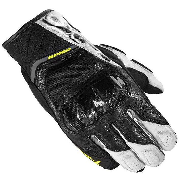 GUANTO GLOVES IN PELLE  STR-4 COUPE' NERO BIANCO GIALLO SPIDI SIZE L