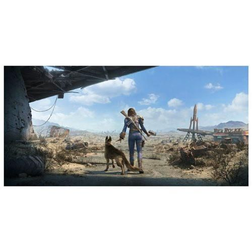 "Fallout 4 Key Art Wall Wrap Poster Dogmeat Female Sole Survivor Panoramic 26"" x 13"""