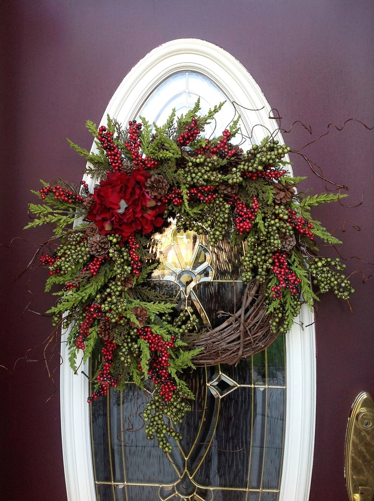 Grapevine door wreath via etsy wreaths pinterest Christmas wreath decorations