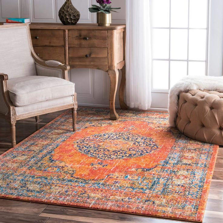 nuLOOM Persian Traditional Medallion Orange Rug (4' x 6') (Orange), Size 4' x 6' (Synthetic, Oriental)