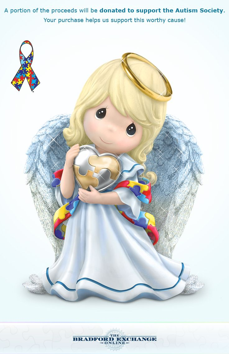 Spread the blessing of autism awareness with this Precious Moments Angel of Caring figurine.