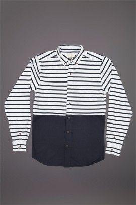 WEMOTO GIFFORD SHIRT WHITE NAVY  WEMOTO A/W 14. Breton striped shirt made from 100% cotton.  http://www.abandonshipapparel.com/product/wemoto-gifford-shirt-white-navy/