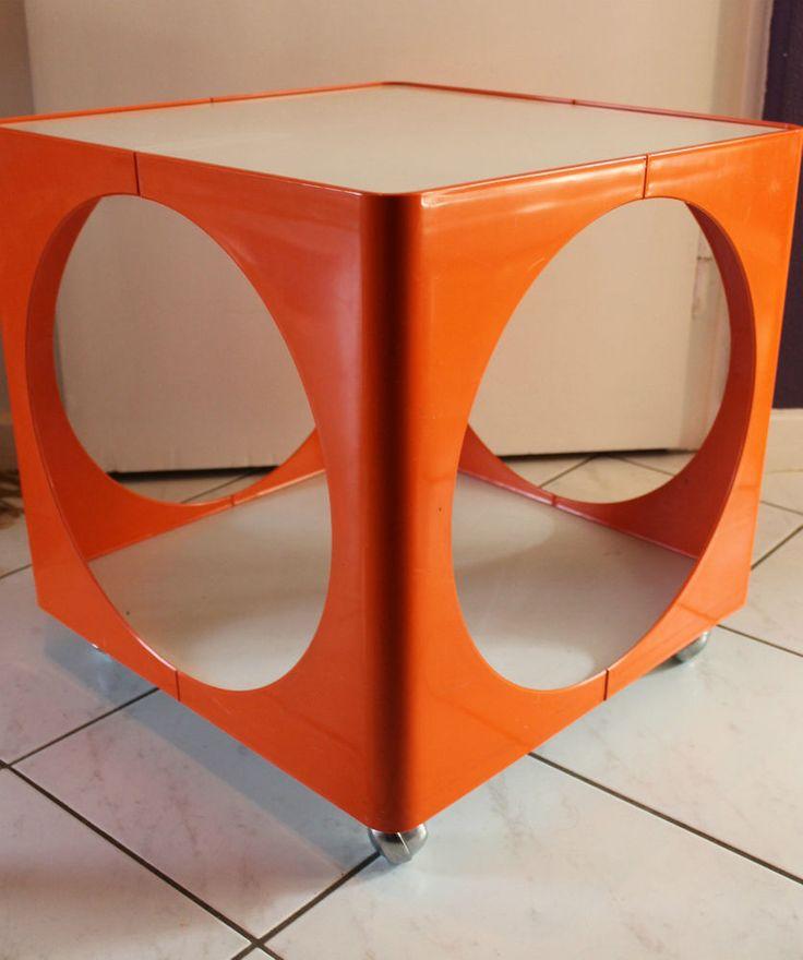 70er Jahre KUBUS Rolltisch Beistelltisch Couchtisch Tisch 70s Table ORANGE Pop