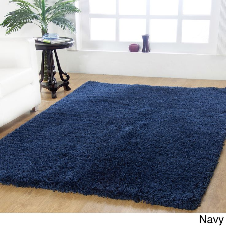 Affinity Home-soft Luxurious Plush Shag Rug (4' x 6') (Navy), Blue, Size 4' x 6'