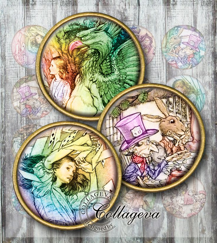 "Alice in Wonderland Digital Collage Sheet 1.5"" 1.25"" 30 mm 25 mm 1 inch circles Round images for pendant DIY jewelry Cupcake topper (EN01-c) by collageva on Etsy"