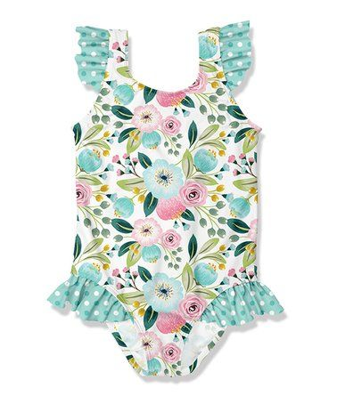 a669964fdb1cd This Turquoise Floral Ruffle-Accent One-Piece - Infant, Toddler & Girls is  perfect! #zulilyfinds