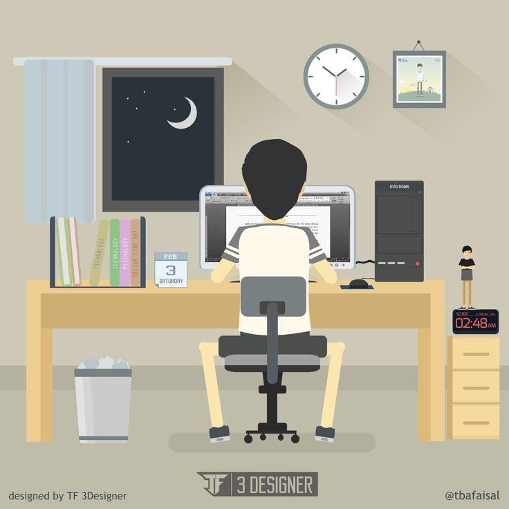 work! flat design environment