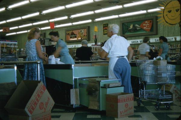 View showing checkout counters at a Publix supermarket in Sarasota, Florida, 1958.