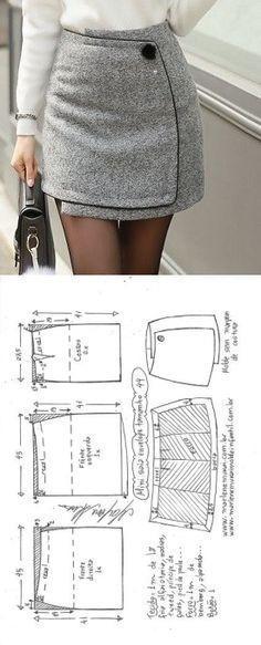 Mini saia envelope – DIY – molde, corte e costura – Marlene Mukai // Taika – Mod…