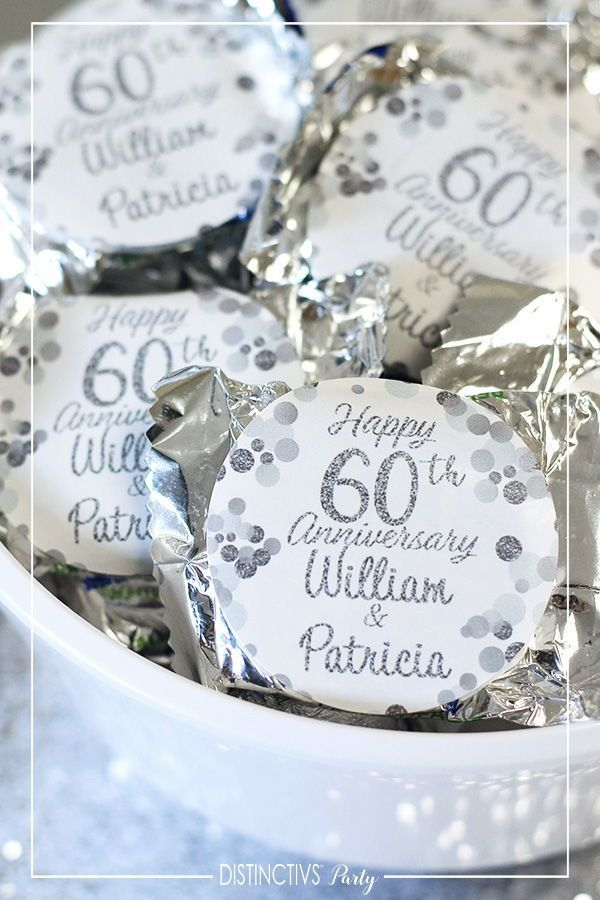 Personalized Silver Wedding Anniversary Large Favor Stickers Anniversary Favor In 2020 60th Wedding Anniversary Party Wedding Anniversary Favors Anniversary Favors