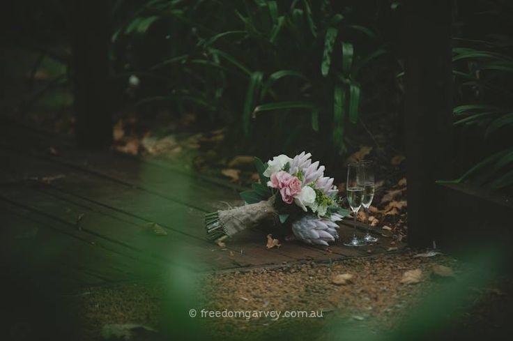 Margaret River Wedding ~ Rustic  ~ Bouquet ~ Protea ~ Bohemian ~ Spring Wedding ~ Vintage ~ Wedding Floral Design ~ Australia weddings ~ UK Weddings ~ International wedding and event styling ~Styling By http://www.chicrustique.com.au/about ~ Photography www.freedomgarvey.com.au/