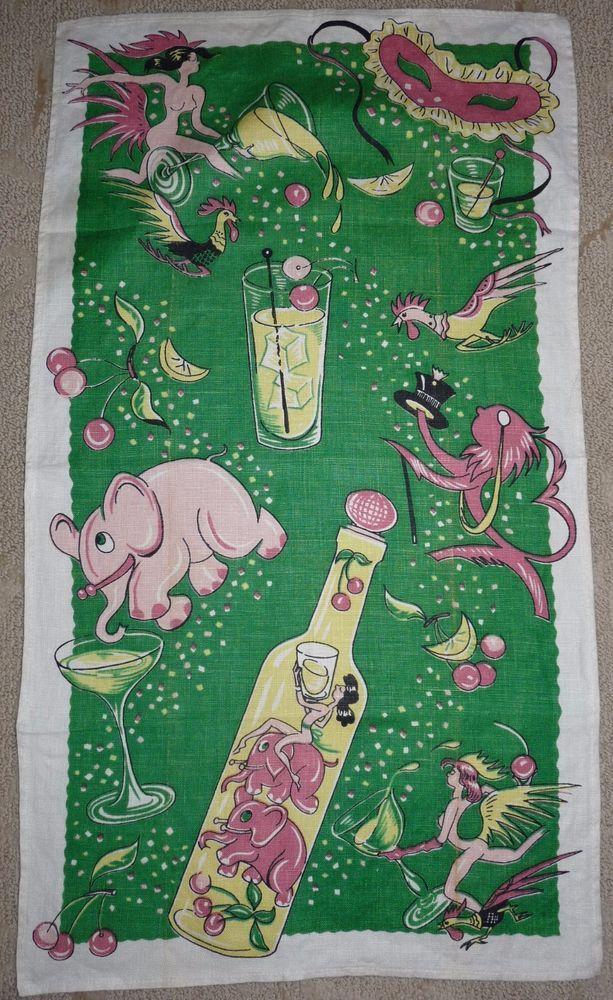 Vintage Mid Century Barware Tea Towel Pink Elephants and More Very Cool