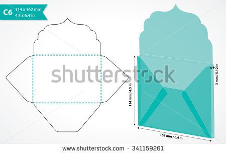 Envelope template with flap design. Easy to fold. May be used for thank you notes, wedding, gift tag or save the date cards. Standard c6 size suits a6 size cards. Die cut envelope layout.