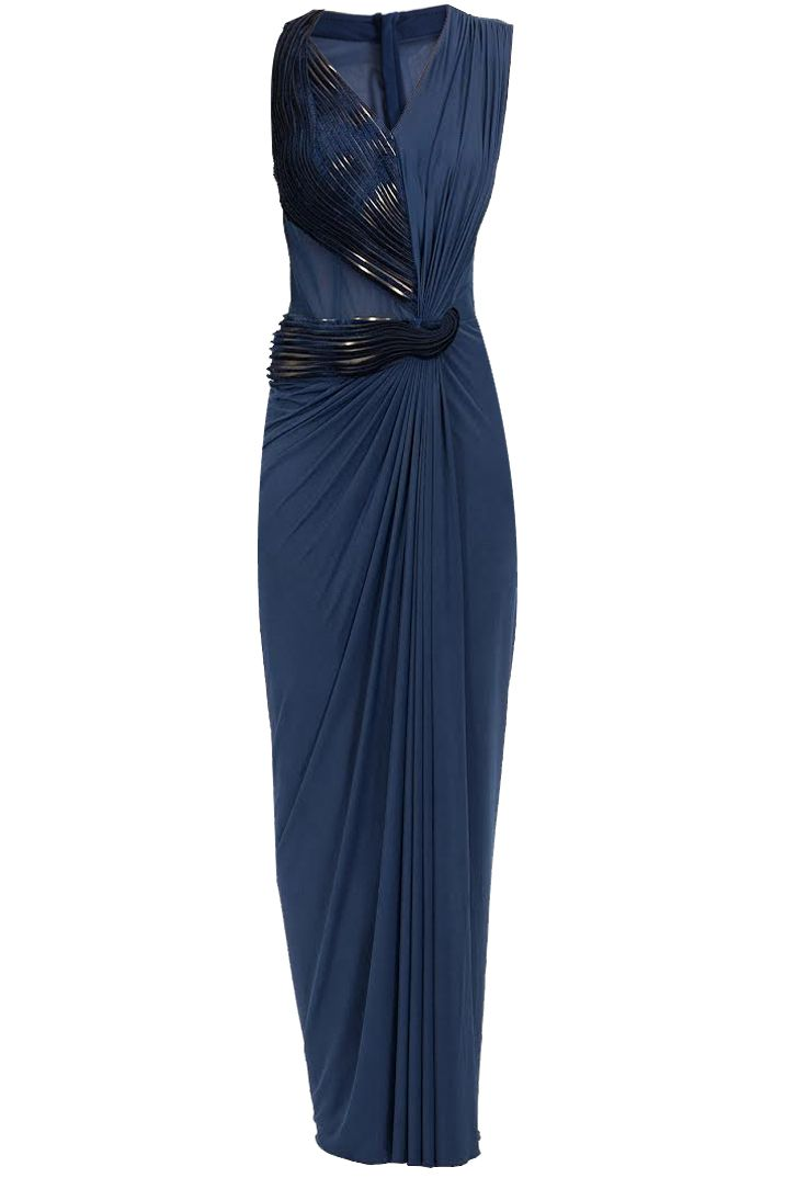 Ink blue furlace embroidered long dress BY AMIT AGGARWAL