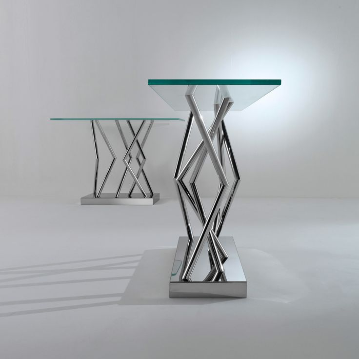 SA 06 - Consolle with a glossy or lacquered steel base and top in ultra-clear transparent glass th. 15 mm designed by Sottsass Associati | Laurameroni