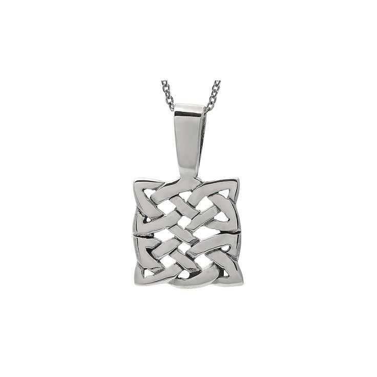 Women's Journee Collection Square Celtic Knot Pendant Necklace in Sterling Silver - Silver (18)