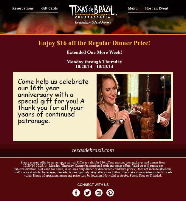 Pinned October 20th: $16 off each dinner at Texas de #Brazil restaurants #coupon via The #Coupons App