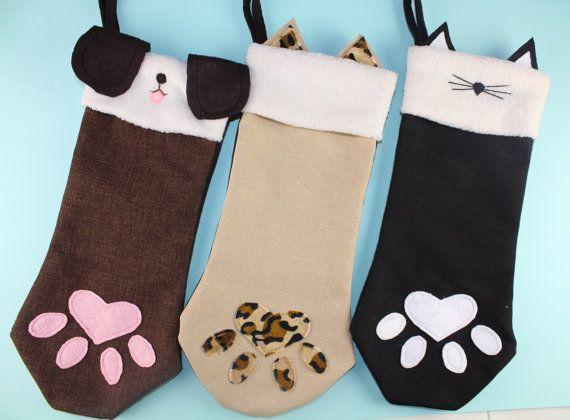 Burlap Cat Christmas Stocking Paw Black Cat by TheStockingShoppe