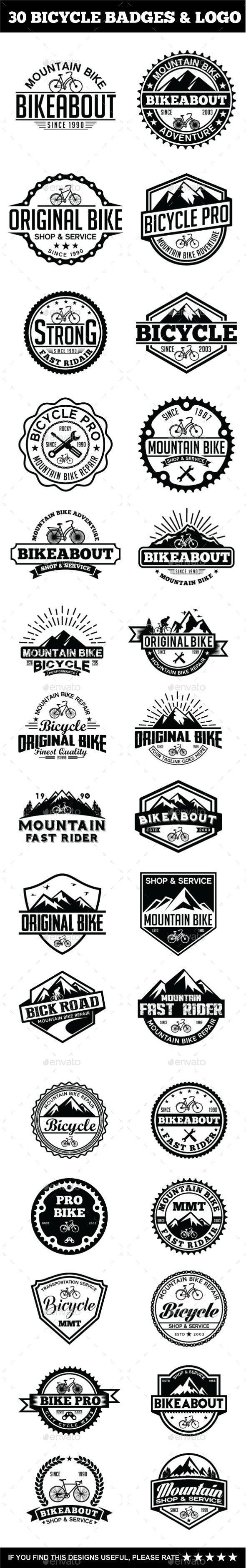 30 Bicycle Badges & Stickers Bundle - EPS Template • Only available here ➝ http://graphicriver.net/item/30-bicycle-badges-stickers-bundle/15286327?ref=pxcr