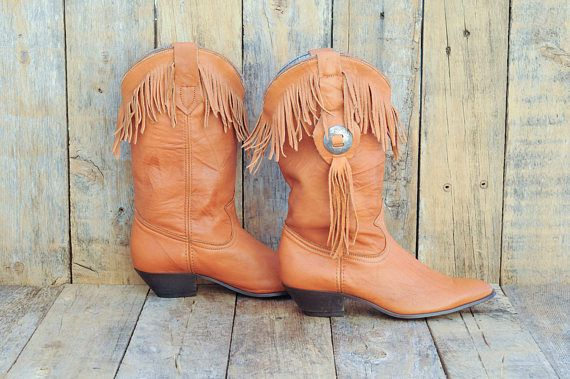 Us 6.5, vintage cowgirl boots, vintage cowboy boots, fringe boots, boho boots, western boots, USA made in excellent condition
