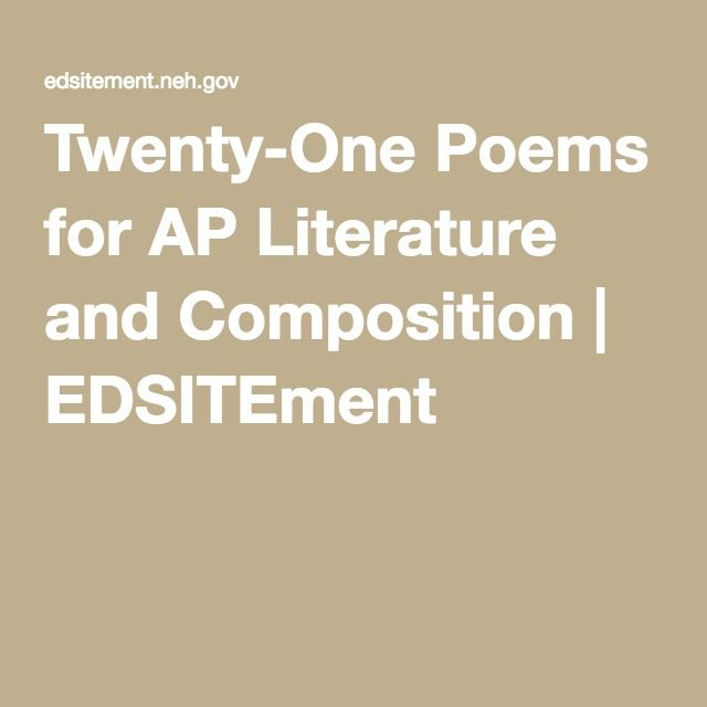 Twenty-One Poems for AP Literature and Composition | EDSITEment