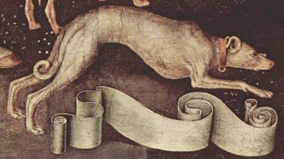Pisanello, dog, c.1438, detail from Vision of St.Eustace