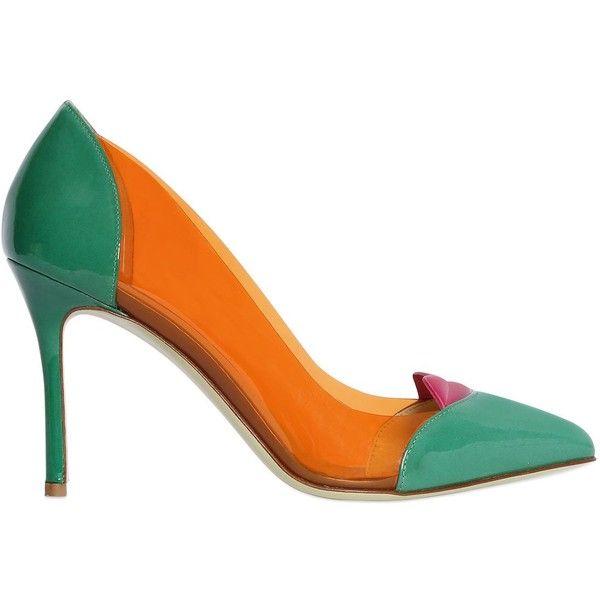 Giannico Women 100mm Lola Plexi & Patent Leather Pumps ($635) ❤ liked on Polyvore featuring shoes, pumps, plexi pumps, high heel pumps, lip pump, patent shoes and orange pumps