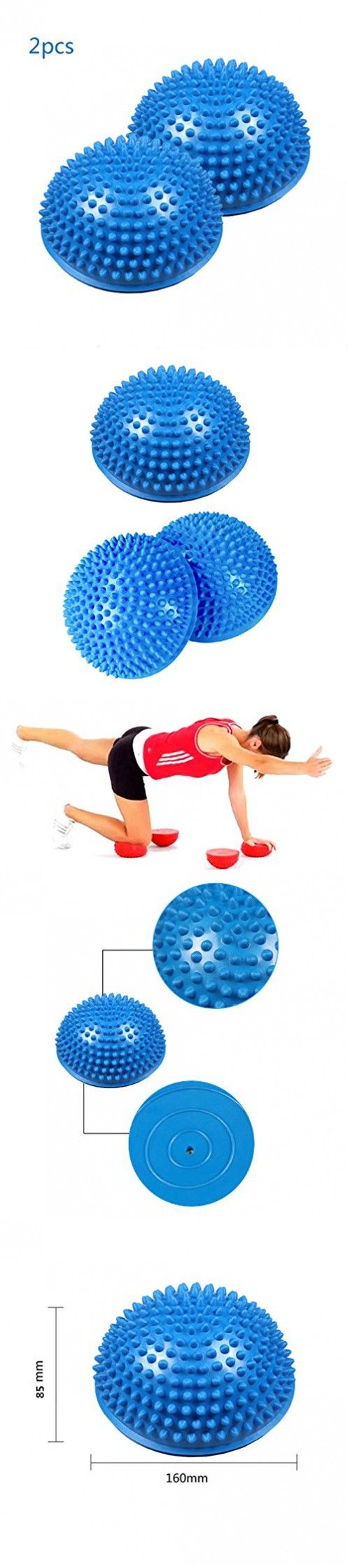2Pcs Blue Anti-slip Foot Massage Ball Yoga Half Ball, 16cm/6.5inch Massage Mat Exercise Balance Pods Spiky Point for Gym Fitness Pilates