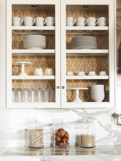Inspirational Kitchen Cabinet eclectic kitchen las vegas Alice Lane Home Collection A splash of bright wallpaper looks great with white cups and plates and makes