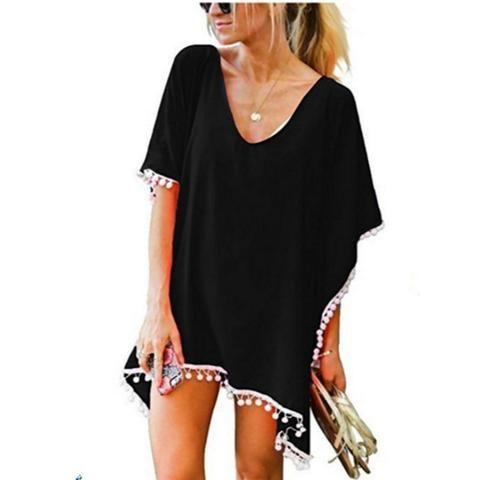 2019 Women Beach Dress Sexy Solid V Neck Summer Cute Dresses Tassel Chiffon Smock