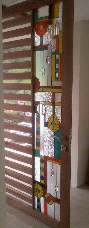Vitral para puerta en madera