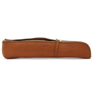 TAN PEN CASE BY ARTS & SCIENCE | Handmade cow leather pen case with black linen lining and zippered closure.  Made in Japan.