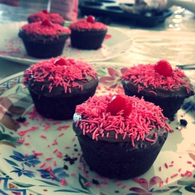 Chocolate cupcakes with chocolate fudge frosting