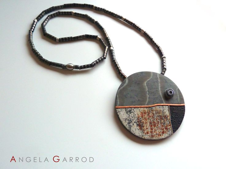""" Eye to the Future "" Necklace...............Polymer Clay, Sterling Silver, Aluminium, Copper and patinated Steel textured and rolled through rolling mill."