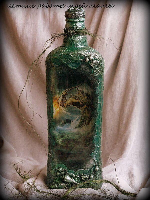 Декор бутылок, декупаж