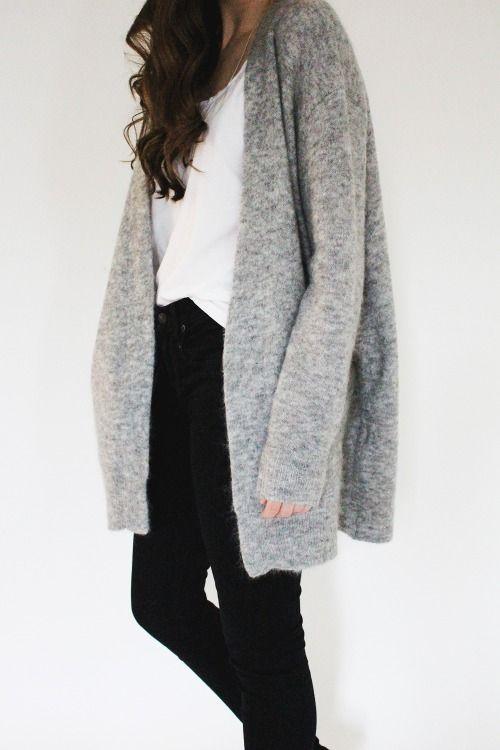 #street #style minimal / gray cardigan @wachabuy