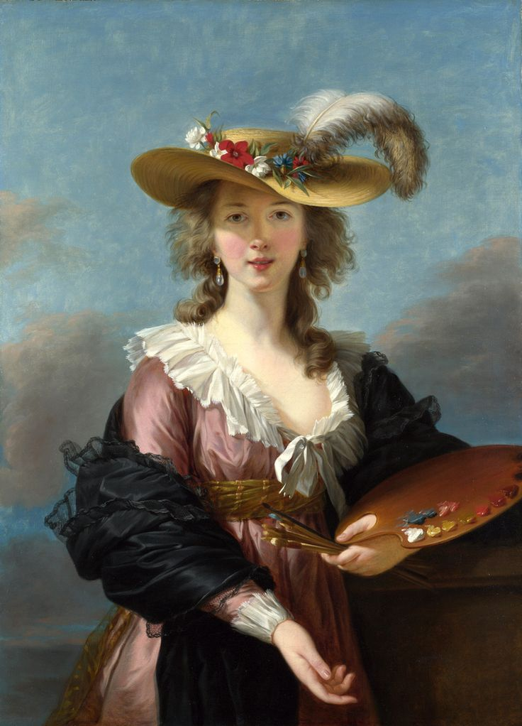 Madame Marie Élisabeth Louise Vigée Lebrun's famous Self Portrait in a Straw Hat painted sometime after 1782.