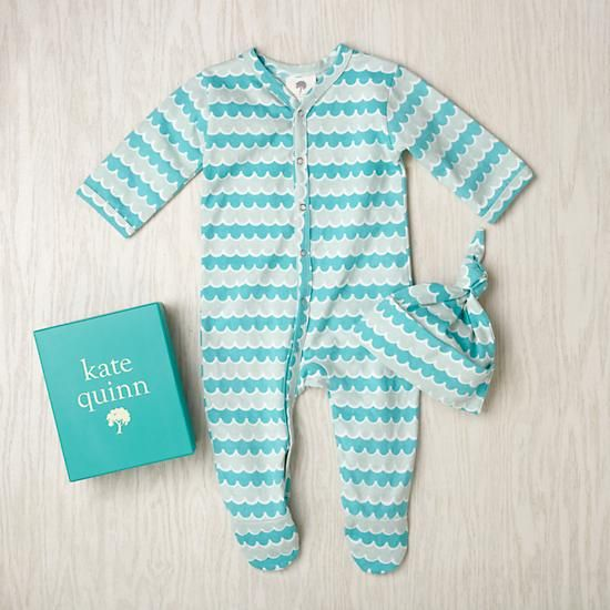 . Kate Quinn onesie and hat set in Aqua Water colorway.
