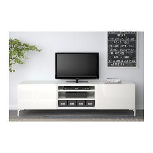 """BESTÅ TV unit with drawers - white/Selsviken high-gloss/white, drawer runner, soft-closing, 70 7/8x15 3/4x18 7/8 """" - IKEA"""