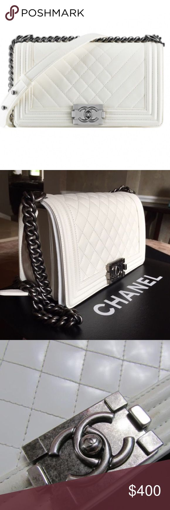Chanel Shoulder Flap Bag Chanel White Lambskin Shoulder Bag. **PRICE REFLECTS AUTHENTICITY** (PLEASE DONT ASK THE OBVIOUS) Will Ship The Same Day! Willing To Accept Offers Through Offer Button Only. Thanks HAPPY SHOPPING 😊 CHANEL Bags Shoulder Bags